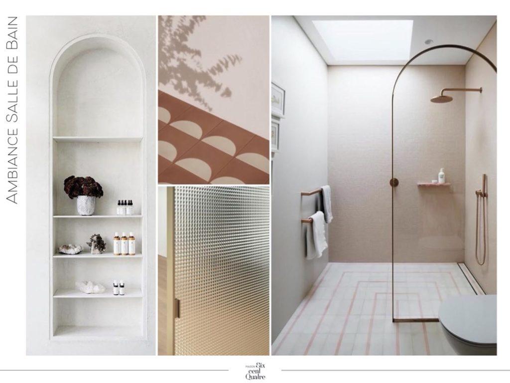 Planche ambiance salle de bain | Maison 604 - Agence de conseil en décoration d'intérieur et design d'espace dans la région de Nancy et Paris.